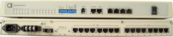 16 x E1 G.703 + 4 x 10/100 Ethernet fiber multiplexer with dot1Q VLAN's, QoS, and BW shaping