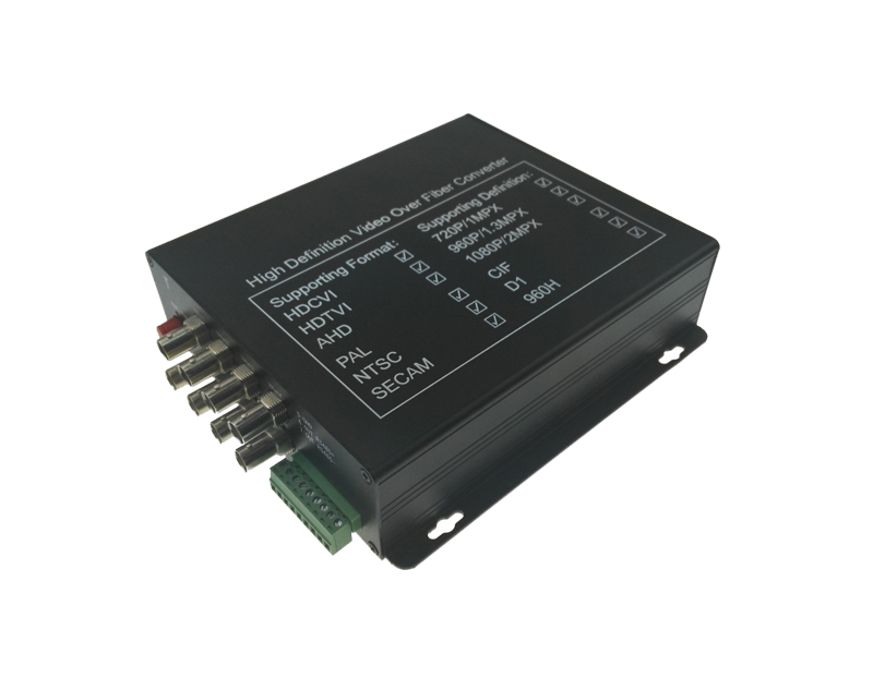 8-Channel TVI/CVI/AHD Video to Fiber Converter
